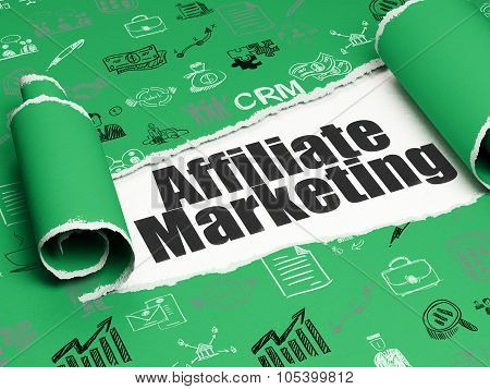 Business concept: black text Affiliate Marketing under the piece of  torn paper
