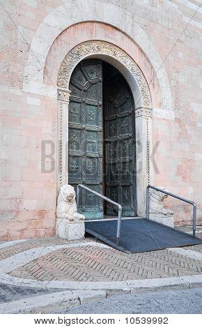St. Feliciano Cathedral Portal. Foligno. Umbria.