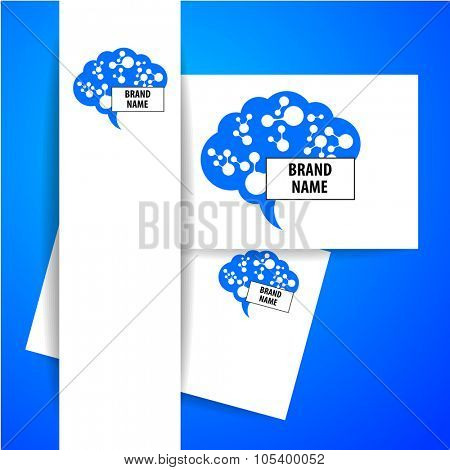 Brain - logo. Template design sign of the brain and neural connections. Brainstorming logotype concept icon.