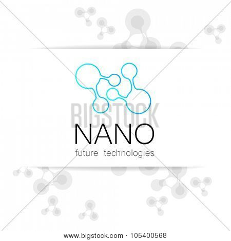 Nano logo - nanotechnology. Template design of logo. Vector presentation.