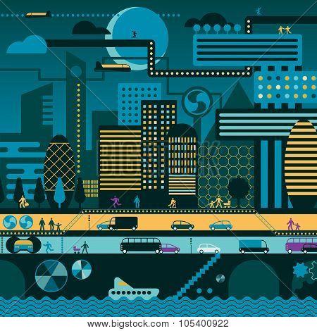 Future City In Night