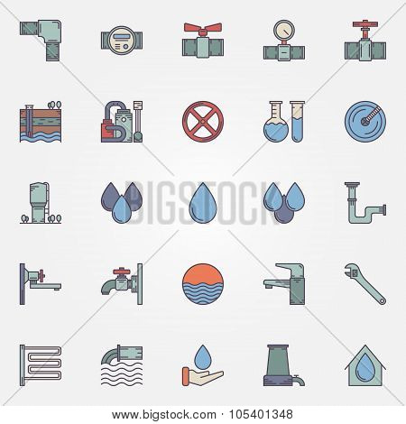 Water supply flat icons