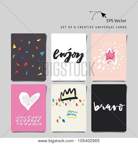 Set Of 6 Universal Creative Cards. Hand Lettering. Abstract Background. Author Calligraphy. Bravo. E