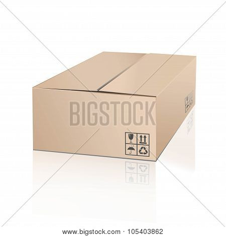 Unpacking cardboard box with fragile symbol