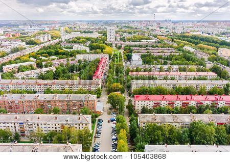 Residential large-panel houses. Tyumen. Russia