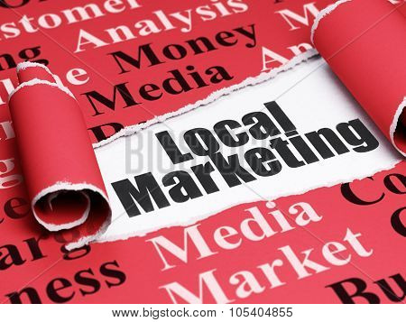 Marketing concept: black text Local Marketing under the piece of  torn paper