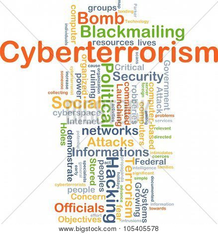 Background concept wordcloud illustration of cyberterrorism