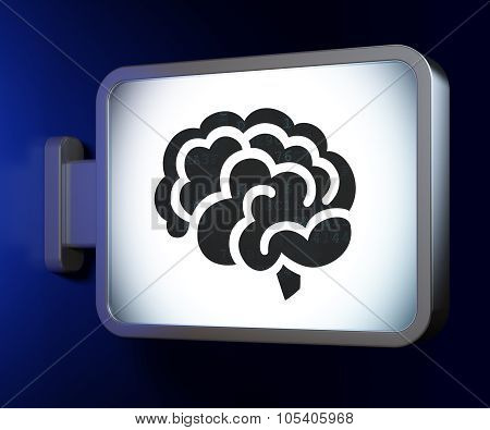 Science concept: Brain on billboard background