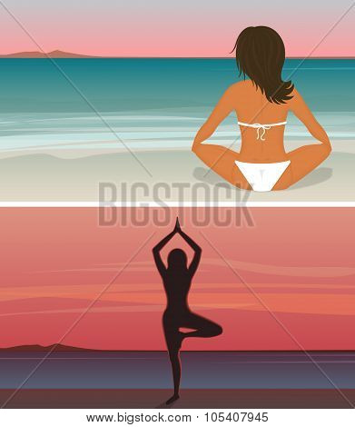 Woman is doing yoga on the sunset beach