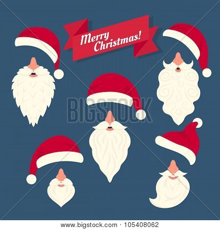 Christmas clothes collection of Santas hats with nose and white beards