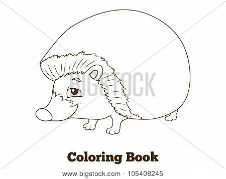 Coloring book forest animal hedgehog cartoon
