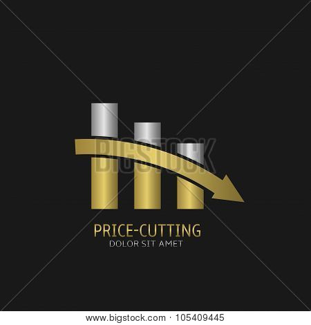 Price-cutting symbol logo