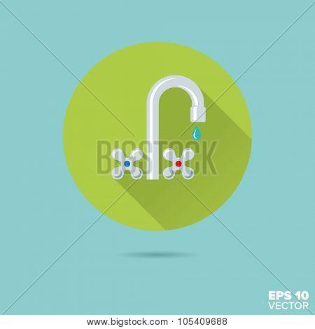 faucet flat design vector icon