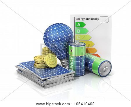 Concept Of Saving Money If Use Solar Energy. Solar Battery In Form Of Panel, Bulb And Battery With M