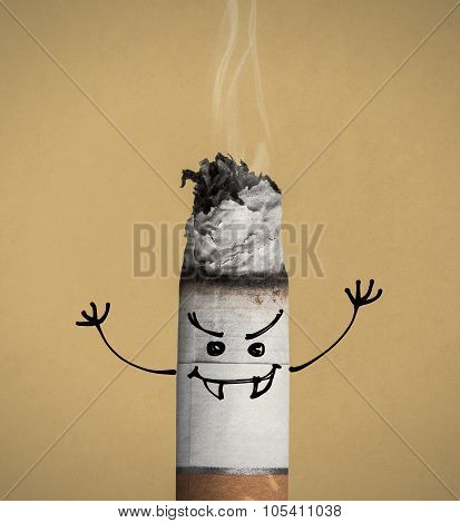 Burning Cigarette And Funny Character