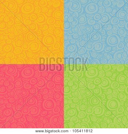 Seamless Loop Spiral Patterns In Multiple Color