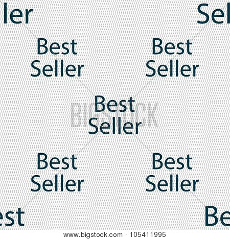 Best Seller Sign Icon. Best-seller Award Symbol. Seamless Abstract Background With Geometric