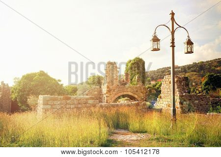 The image ruins of the ancient city wall