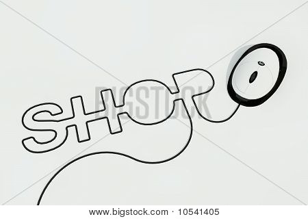 shop written with mouse wire