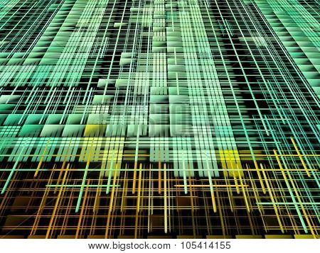 Green And Yellow Matrix Abstract Background