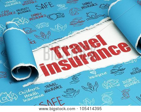 Insurance concept: red text Travel Insurance under the piece of  torn paper