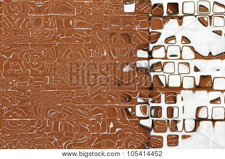 Brown And White Square Shape Pattern As Abstract Background.