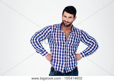 Portrait of a handsome macho standing isolated on a white background
