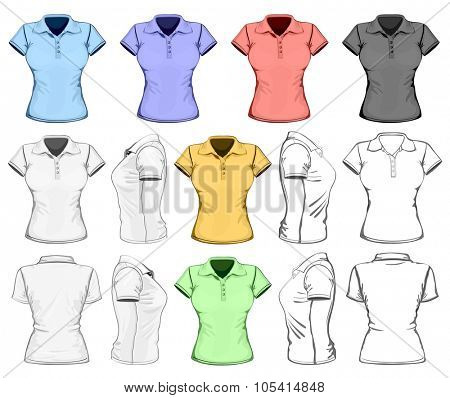 Women's short sleeve polo-shirt design template (front, back and side view). No mesh. Vector illustration