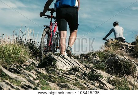 Bicyclist Travelers In Mountain