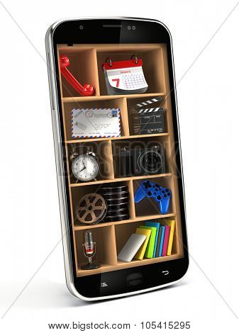 Smartphone with applications on shelves