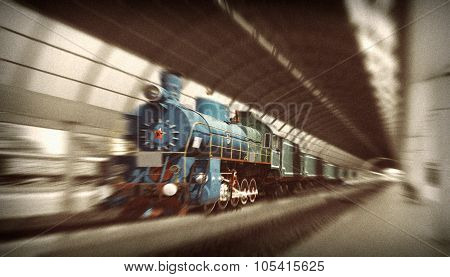 The Communist Locomotive With Red Star The Early 20Th Century,  Arriving At The Station. Motion Blur