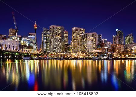 Sydney, Australia - November 23, 2015 : Night Scene Of Darling Harbour