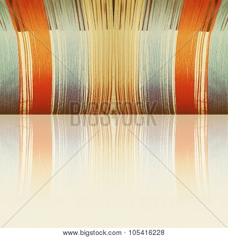 Multicolored Threads With Reflection And Empty Space As Background.