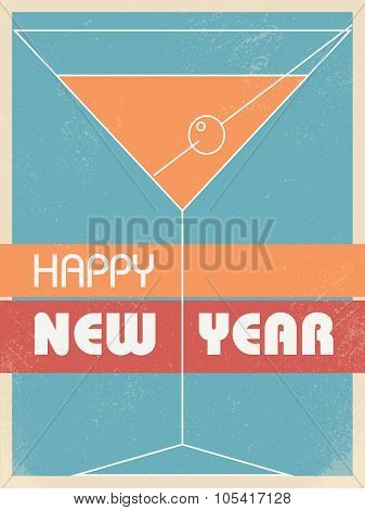 Vintage new year card invitation vector background. Martini glass with retro colors and grunge textu