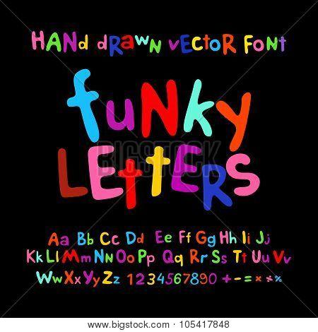 Abc Alphabet Funky Letters Children Fun Colorful Set Cartoon