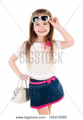 Portrait Of Cute Little Girl With Sunglasses And Bag