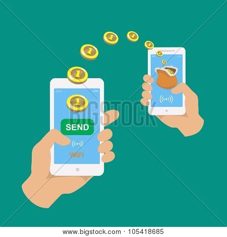 Hands holding smartphones. Banking payment apps. People sending and receiving money