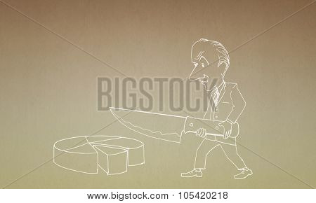 Caricature of funny businessman cutting diagram pie with knife