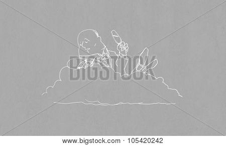 Caricature of funny banker man relaxing on cloud