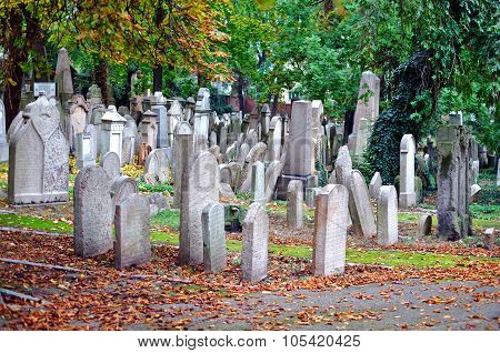 Old Jewish Cemetery In Prague In Autumn