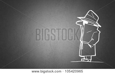Caricature of gangster man with gun on gray background