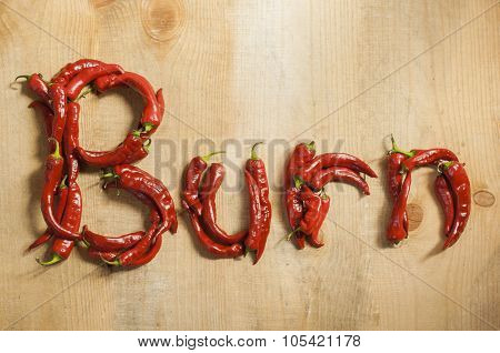 The Word Hot Burn From Chili On Wooden Background.