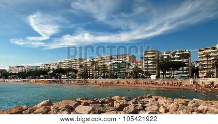Cannes, France -  July 5, 2014: The Beach In Cannes. Cannes Located In The French Riviera.