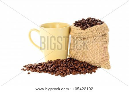 Coffee Beans In Bag On White Background