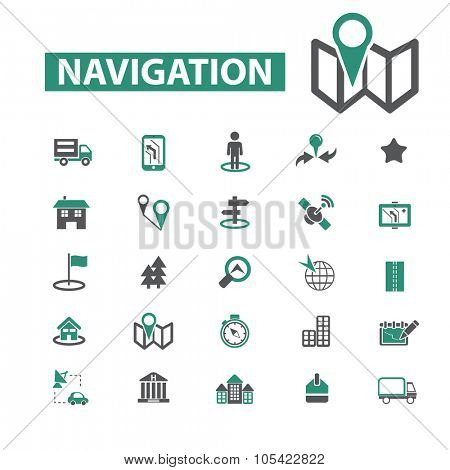 navigation, route, map icons