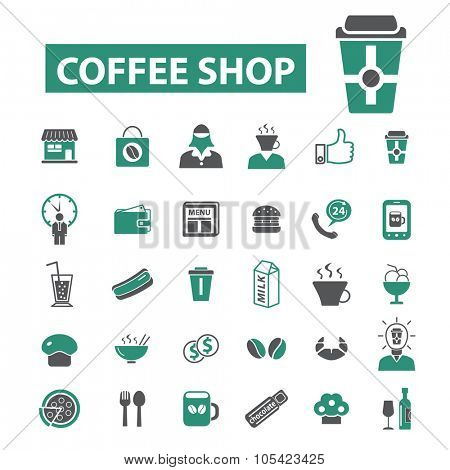coffee shop, cafe, bistro icons
