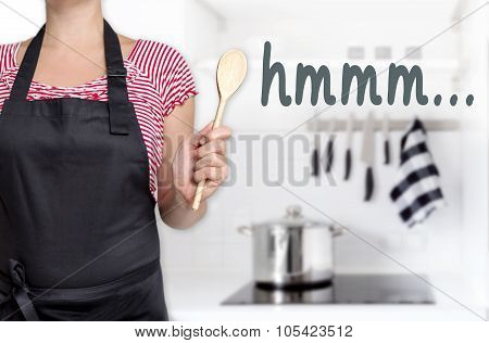 Hmm Cook Holding Wooden Spoon Background Concept