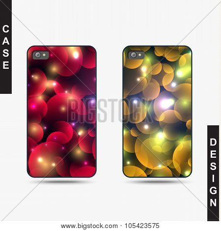 Isolated templates phone with Christmas design. Realistic case
