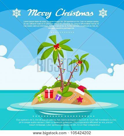 New Year Christmas Vacation Holiday Tropical Ocean Island With Palm Tree
