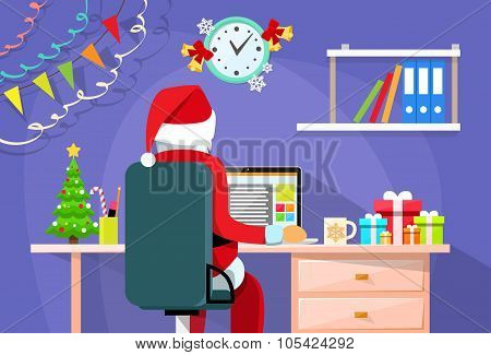 Santa Claus Sitting Desk Using Laptop Internet Back Rear View Christmas Holiday